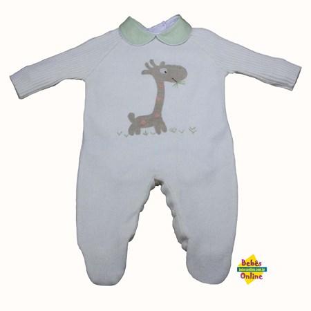 Macacão Girafa Safári em tricot com body golinha verde - 2 itens