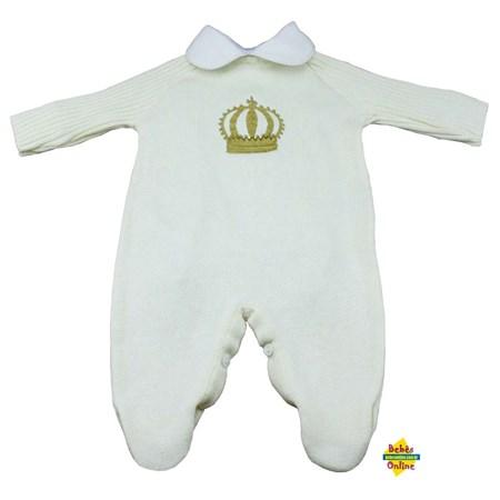 Macacão Príncipe em tricot com body golinha branca - 2 peças