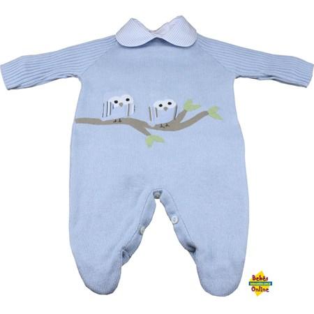 Macacão Corujinhas em tricot com body golinha - 2 itens