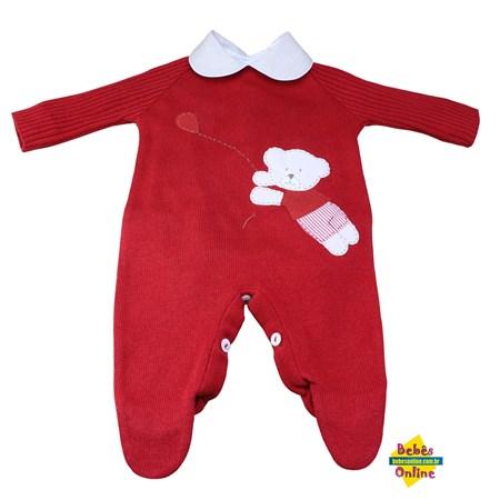 Macacão Ursinho balãozinho em tricot com body golinha bege - 2 itens