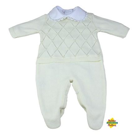 Macacão Pérolas em tricot com body golinha guipir - 2 itens