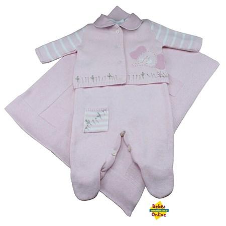 Saída de Maternidade Elefantinho em tricot com body golinha rosa - 4 itens