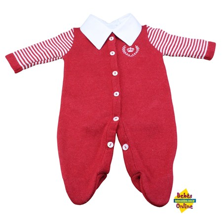 Macacão tricot prematuro Coroa com body golinha bico - 2 itens