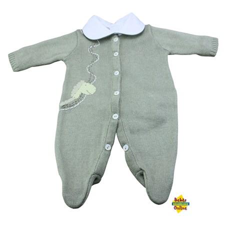 Macacão tricot prematuro Cavalinho com body detalhe verde - 2 itens