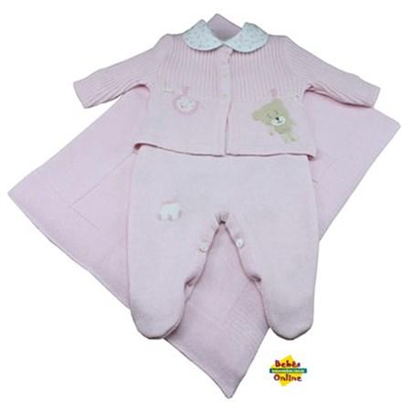 Saida de Maternidade Ursinho varal em tricot com body golinha floral - 4 itens