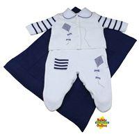 Saída de Maternidade em tricot Pipas com body golinha - PP - 4 Itens