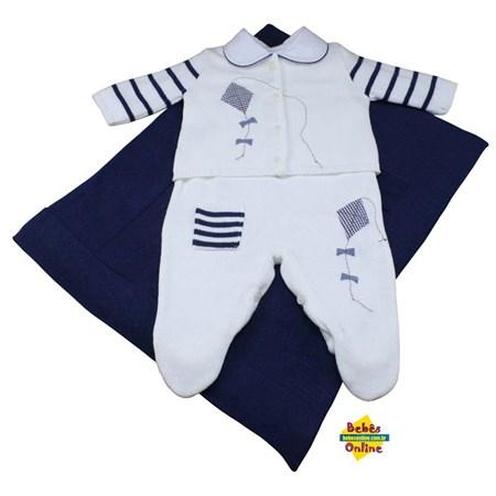 Saída de Maternidade em tricot Pipas com body golinha - 4 Itens