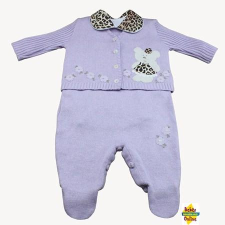 Conjunto Ursinha perua em tricot com body golinha onça - 3 itens