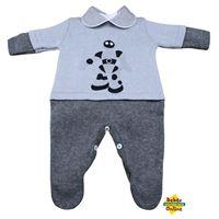 Macacão Robô em tricot com body golinha cinza - 2 itens - PP