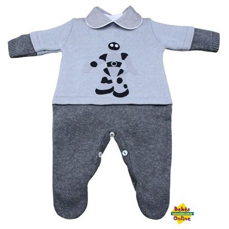 Macacão Robô em tricot com body golinha cinza - 2 itens
