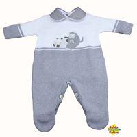 Macacão Hipopótamo em tricot com body golinha cinza - PP - 2 Itens