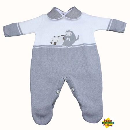 Macacão Hipopótamo em tricot com body golinha cinza - 2 itens