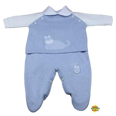 Conjunto Gatinho em tricot com body golinha - 3 itens