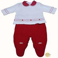 Conjunto Batinha em tricot com body golinha em poá vermelho - PP - 3 itens