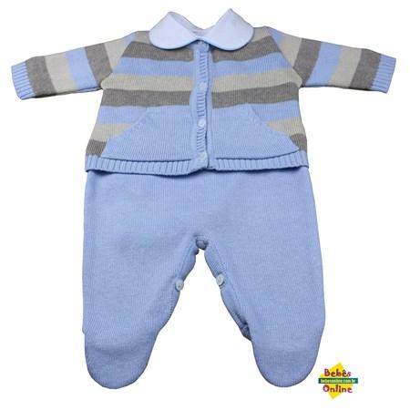 Conjunto Listras em tricot com body golinha  viés azul - 3 itens
