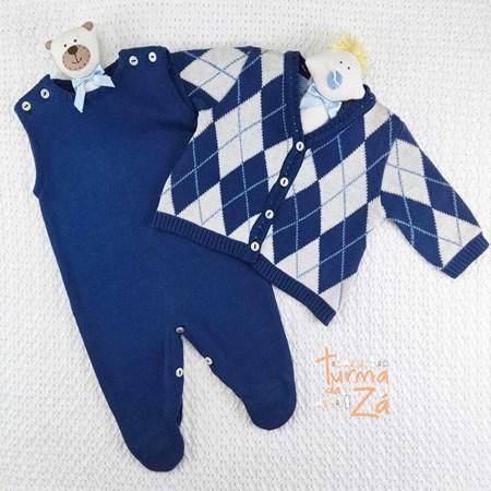Conjunto Losango em tricot  com body golinha - 3 itens