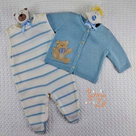 Conjunto Ursinho em tricot chupeta com body golinha - 3 peças