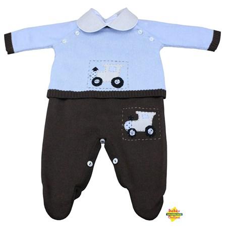 Conjunto Trenzinho em tricot com body golinha bege - 3 itens