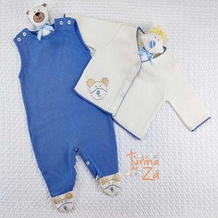 Conjunto Ursinho em tricot Pantufa com body golinha - 3 itens