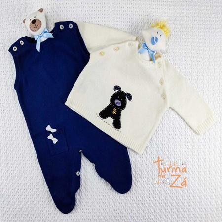 Conjunto Totó em tricot com body golinha poá - 3 itens