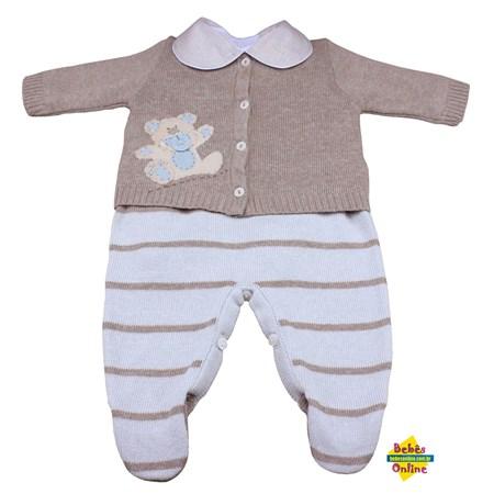 Conjunto Ursinho em tricot chupeta com body golinha bege - 3 peças