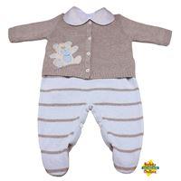 Conjunto Ursinho em tricot chupeta com body golinha bege - 3 peças - PP(RN)
