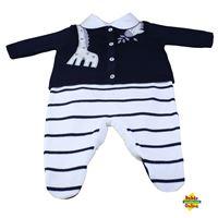 Conjunto Girafa em tricot com body golinha viés azul marinho - 3 itens  - PP