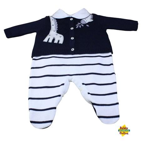 Conjunto Girafa em tricot com body golinha viés azul marinho - 3 itens
