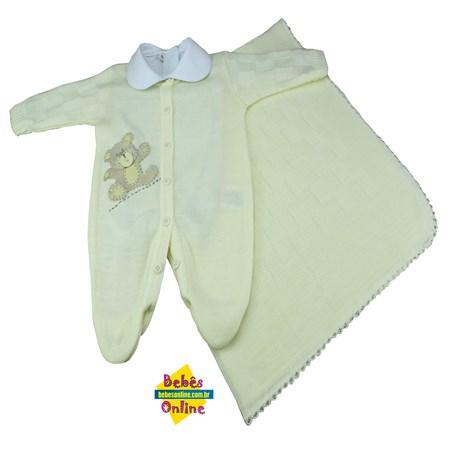 Saída de Maternidade em tricot Ursinho chupeta com manta e body golinha -  3 itens