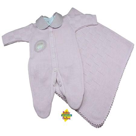 Saída de Maternidade Bonequinha em tricot com manta e body golinha - 3 itens