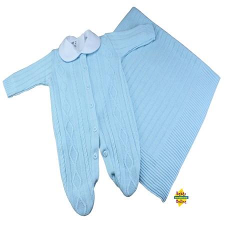 Saída de Maternidade em tricot Tranças com manta e body golinha - 3 itens