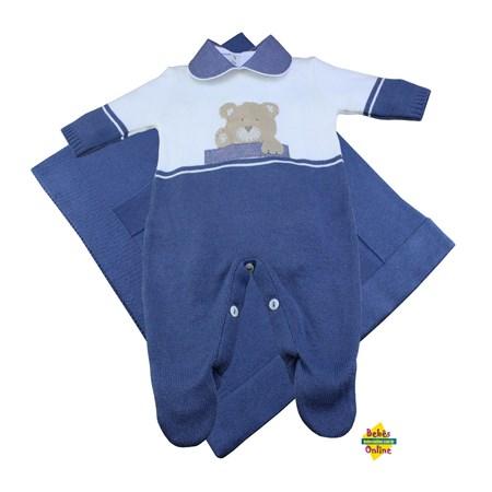 Saída de Maternidade em tricot Ursinho em manta e body golinha - 3 itens