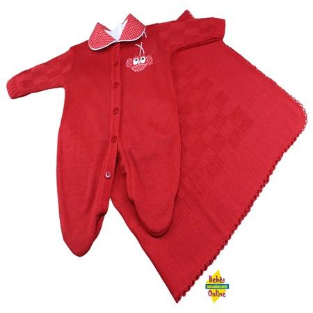 Saída de Maternidade Corujinha em tricot  com manta e body golinha - 3 itens