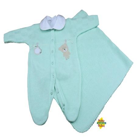Saída de Maternidade em tricot Ursinho varal com manta  e body golinha - 3 itens