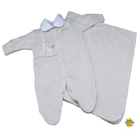 Saída de Maternidade em tricot Girafinha com manta e body golinha - 3 itens