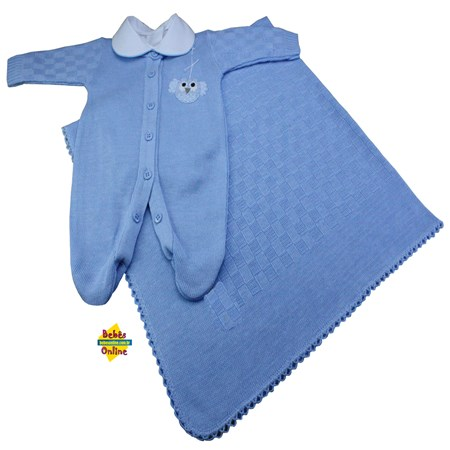 Saída de Maternidade em tricot Corujinha prematura com manta e body golinha - 3 itens