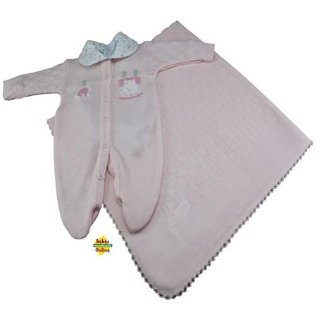 Saída de Maternidade Varalzinho prematura com manta e body golinha floral - 3 itens