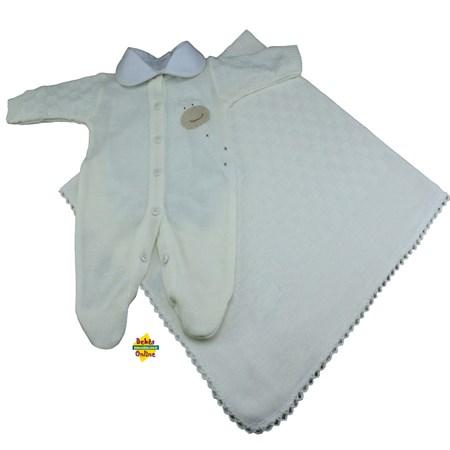 Saída de Maternidade em tricot Girafinha prematura com manta e body golinha - 3 itens