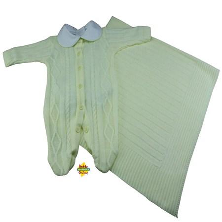 Saída de Maternidade em tricot Tranças prematuro com manta e body golinha - 3 itens