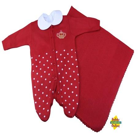 Saída de Maternidade em tricot Coroa poá com manta e body golinha - 3 itens