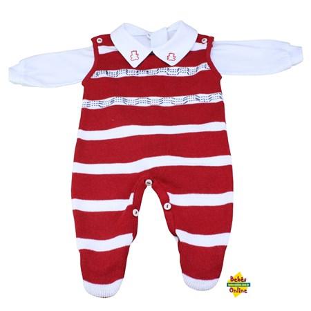 Salopete Tracinhos em tricot com body golinha bordada - 2 itens
