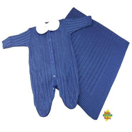 Saída de Maternidade em tricot Tranças com manta e body golinha. - 3 itens