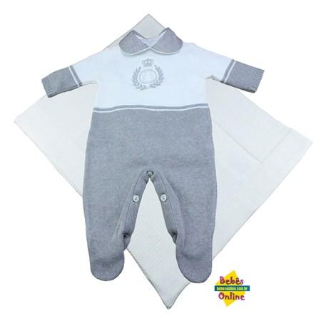 Saída de Maternidade em tricot Ursinho coroa com manta e body golinha - 3 itens